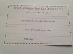 Well wishes & advice cards for the Mrs to Be