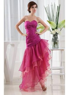 Asymmetry Column Sweetheart Organza Fuschia Prom Dress £112