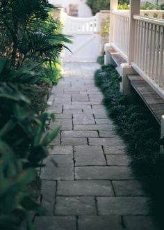 36 Garden Paving Designs to Make the Best out of Your Outdoor Space Paver Pathway, Garden Pavers, Brick Walkway, Backyard Landscaping, Walkway Ideas, Landscaping Ideas, Backyard Ideas, Sideyard Ideas, Side Walkway