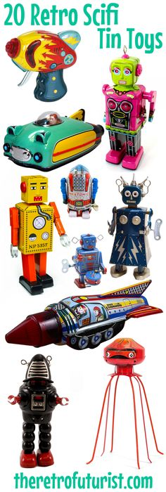 Vintage tin toys based on toys from the 1950s and 1960s. Wind-up robots, sparking raygun, future cars, rockets, and space ships. Fun and nostalgic for gifts or collectors. Science fiction toys and scifi robots.