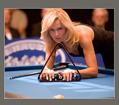 "Don't play her for money or she'll ""bust"" you. Her name is Ewa Mataya Laurance, nee Ewa Svensson, the ""Striking Viking."" She's a BCA hall of fame pool player, and the wife of Jimmy ""Pretty Boy Floyd"" Mataya. From Sexiest Sharks Kelly Pool, Club Sportif, Shark Pool, Shark Tank, Pretty Boy Floyd, Billiards Pool, Female Athletes, Sports Women, Female Sports"