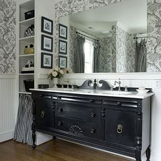 LOVE the idea of using a Non-Standard Vanity ~ repurpose a vintage piece of furniture with a new top and plumbing fixtures