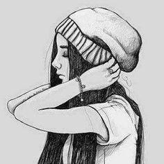 Imagen de girl, drawing, and art Tumblr Girl Drawing, Tumblr Drawings, Girl Drawing Sketches, Girly Drawings, Art Drawings Sketches Simple, Beautiful Drawings, Easy Drawings Of Girls, Teenage Girl Drawing, Drawing Gif