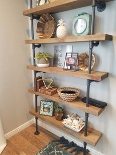 diy home decor - Pipe Book Shelf with 2 thick Rough Sawn wood Shelves Diy Hanging Shelves, Floating Shelves Diy, Glass Shelves, Book Shelf Diy, Wood And Pipe Shelves, Diy Shelving, Book Storage, Flooting Shelves, Storage Ideas