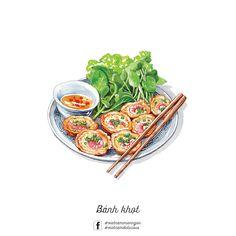 Bánh khọt #LeRin Chibi Food, Food Sketch, Watercolor Food, Food Wallpaper, Food Painting, Vietnamese Recipes, Vietnamese Food, Fake Food, Food Drawing