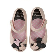 Mini Melissa Ultragirl + Disney Mickey and Minnie Mouse Mary Janes White Shoes