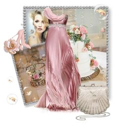 """Pearls Of Pink"" by the-house-of-kasin ❤ liked on Polyvore featuring Le Fate, Sergio Rossi, wedding, bridal, weddings, oneshoulder and gownsgalore"