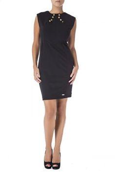 vestido negro muy ajustado poliester. el fit tiene unas costuras que hacen que realzen la figura. parte superior con botones dorados. vestido muy entallado