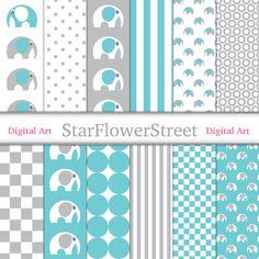digital paper scrapbook grey gray turquoise blue pattern aqua boy digital paper etienne elephant baby boy block pattern StarFlowerStreetDA on Etsy: (3.50 USD)