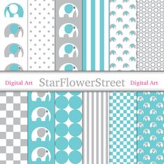 digital paper scrapbook grey gray turquoise blue pattern aqua boy digital paper etienne elephant baby boy block pattern StarFlowerStreetDA on Etsy: (3.50 USD)