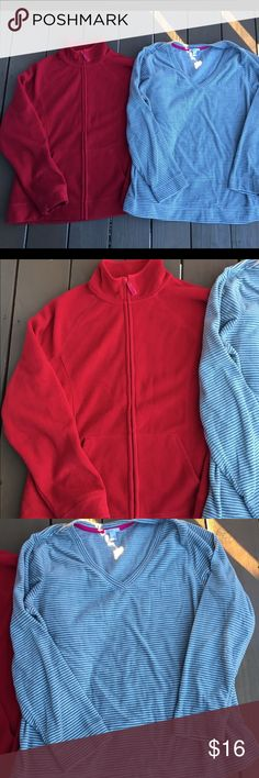 Set of 2 Old Navy fleece Red full zip and gray stripe pullover with v neck. Gently worn fleece is still soft and not pilled/chunky. Both size XL. Old Navy Tops Sweatshirts & Hoodies