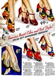 1940s shoe ad color photo illustration pumps shoes ladies multi color red blue…