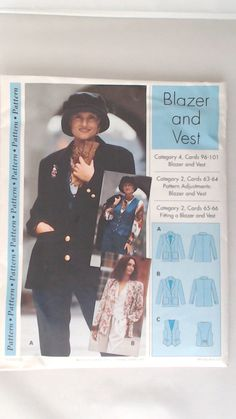 These Sewing #Patterns are nested in two groups of five sizes - Misses/Miss Petite Sizes 4-12 and Misses Sizes 14-22.  There are no instructions included with this pattern. ... #patterns #handmade #simple #1990's #classic #blazer