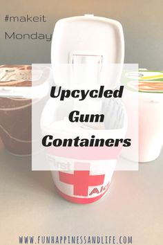 Upcycled gum containers are a great way to organize your small items in your home. Mod Podge and some decorative paper and labels make it cute!