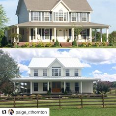 Modern farmhouse before and after