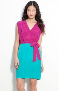 fuchsia on top, aqua on bottom (or reversed!) - love this color combo (even though this is a dress)