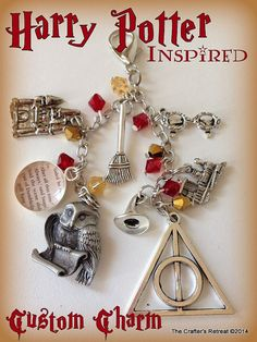 An Amazing Custom Made Harry Potter Inspired Charm honoring all parts of the Harry Potter Story. from CraftersRetreat on Etsy Includes the Hedwig carrying Harrys letter, the