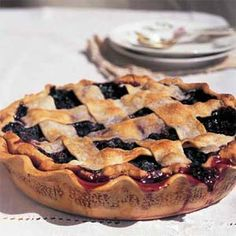 Making this tonight for my brother and dad's birthday dinner: Lattice-Topped Blueberry Pie