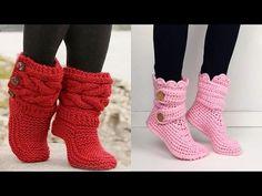 COMO TEJER ESTAS BOTAS DE DAMAS TEJIDOS A CROCHET Nº 01 - YouTube Crochet Sandals, Crochet Boots, Crochet Baby Booties, Crochet Slippers, Crochet Clothes, Knit Crochet, Knitted Cape Pattern, Crochet Poncho Patterns, Knitting Patterns Free