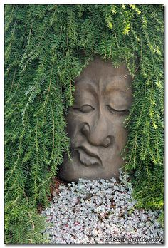 Oregon Garden Sculpture - Connie how do you like this hair for your head planter??