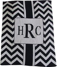 Chevron Monogram Knit Blanket