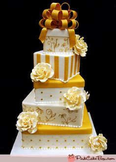 Gold and White Gift Box Wedding Cake by Pink Cake Box