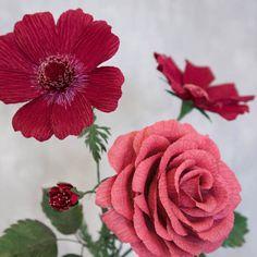 Bouquet Love: Rosa Cosmee e Silver Dollar di LemonadePaperFlowers