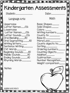 Kindergarten Report Card Assessments