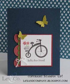 """Lex and Company """"Dear Friend"""" bicycle card using 2012-2013 In Colors. Created by Stampin' Up! demo Jana Burke at lexandcompany.blogspot.com"""