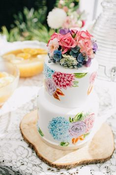 Vibrant Hand Painted Floral Cake