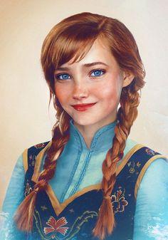 Príncipes e princesas da Disney realistas: Princesa Anna, de Frozen. By Jirka Vinse Jonatan Väätäinen