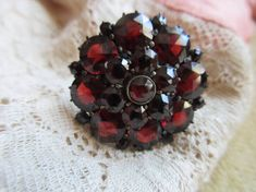 Antique 10K Bohemian Garnet Ring  Rose Cut Garnet by AndOnToWillow