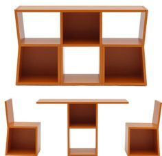 Chair/table conversions and shelving