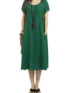 Loose Women Solid Short Sleeve Pocket Pleated Cotton Linen Dress at Banggood