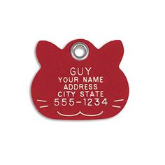 LuckyPet Pet ID Tag  Red Plastic Cat Face  Durable Cat Tag  Easy to Read  Reflective on Back  Size Small -- Click on the image for additional details. Note: It's an affiliate link to Amazon.