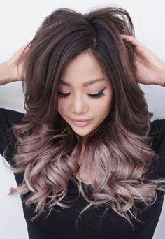 Tendance Couleur de cheveux Rose gold balayage ombre on brunette hair