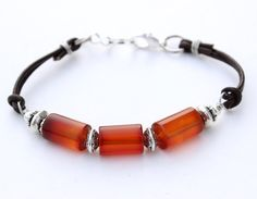 Agate and Leather Bracelet by InspiredTheory on Etsy