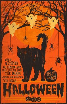 DIY Halloween Crafts and Decorations 2015 thrift store + Dollar Tree ideas. Heres a video to give you guys some ideas of inexpensive Halloween craftsdecorations that you can easily make yourself. Retro Halloween, Halloween Chat Noir, Halloween Tipps, Vintage Halloween Cards, Halloween Prints, Halloween Cat, Holidays Halloween, Halloween Quotes, Halloween Witches