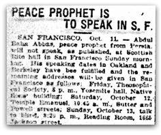 Peace Prophet Is To Speak In S. F.