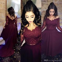 Burgundy Lace Long Sleeve Formal Evening Gowns V Neck Crystal Arabic Evening Dresses With Open Back Tulle Party Prom Dress On Sale Evening Dresses Long Sleeve Evening Gowns Arabic Evening Dresses Online with $158.86/Piece on Fashionhouse2020's Store | DHgate.com