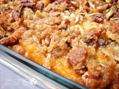 Sweet Potato Souffle: Filling- 3 cups cooked mashed sweet popatoes- 3/4 cup sugar- 1/3 cup salted butter, melted, slightly cooled- 2 eggs, lightly beaten- 1/2 tsp. salt- 3/4 cup evaporated milk--Topping- 1 cup chopped pecans- 2/3 cup brown sugar- 2/3 cup shredded coconut- 1/2 cup butter, melted- 1/2 cup flour.../click to see