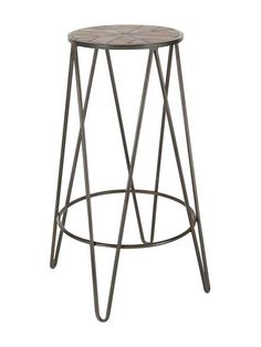 Cycle Stool Mango Wood Bar Stool Coffee Finish Fully Assembled Wooden Top