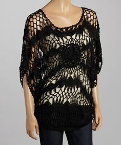 Another great find on #zulily! Black Rose Crocheted Cape Sleeve Top #zulilyfinds