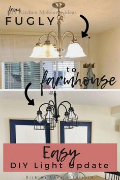 Take your kitchen light fixture from fugly to farmhouse with this easy chandelier makeover DIY! You're going to LOVE how you can easily update your room with these DIY cage lights and a little black paint! Seriously can't get over how amazing these DIY Diy Light Fixtures, Farmhouse Light Fixtures, Farmhouse Chandelier, Farmhouse Lighting, Farmhouse Decor, Farmhouse Style, Painting Light Fixtures, Farmhouse Renovation, Cage Light Fixture