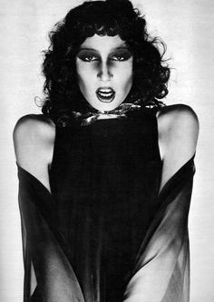 Anjelica Huston photographed by Guy Bourdin for Vogue Paris, 1971.