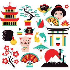Buy Japan Symbols Set by macrovector on GraphicRiver. Japan symbols set with traditional food and travel icons isolated vector illustration. Editable EPS and Render in JPG. Japan Illustration, Japanese Symbol, Travel Icon, Thinking Day, Japanese Paper, Vector Design, Illustrations Posters, Journaling, How To Draw Hands