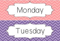A quick freebie that I made for my Maths pinboard.  Days of the week with colourful chevron backgrounds. :)