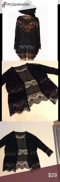 """Eyelash black lace sheer cardigan Really cute very lightweight black cardigan in semi sheer material with beautiful eyelash lace insets, gorgeous, will fit many small, mediums, and larges due to the forgiving fit and open front, length is 28"""", 21"""" across laying flat, so will fit most bust sizes Boutique Jackets & Coats"""
