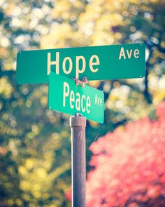 Hope and Peace. Fine Art Photog Street Signs by Squint Photography