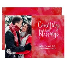 Counting our Blessings Photo Watercolor Holiday Card - Xmas ChristmasEve Christmas Eve Christmas merry xmas family kids gifts holidays Santa
